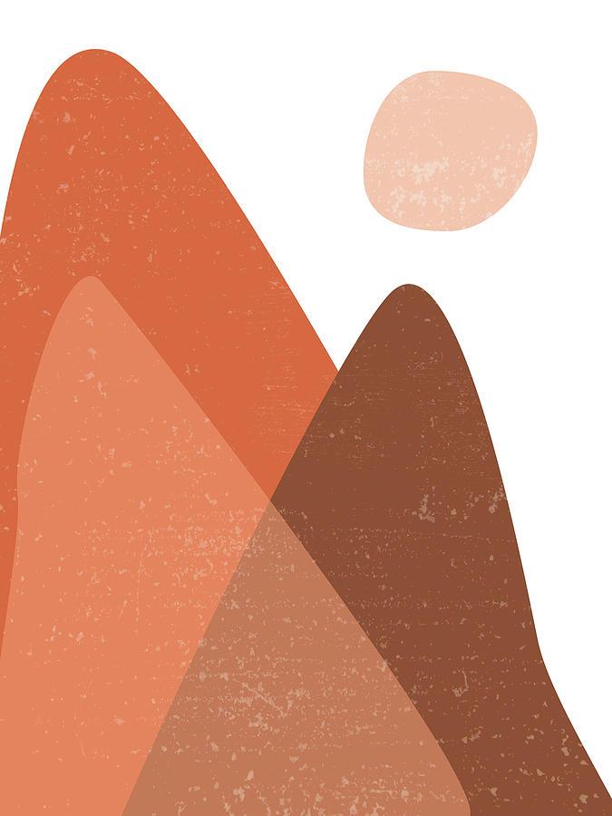 Mountain Ranges - Minimal Abstract - Terracotta Art - Contemporary, Modern Print - Brown Photograph