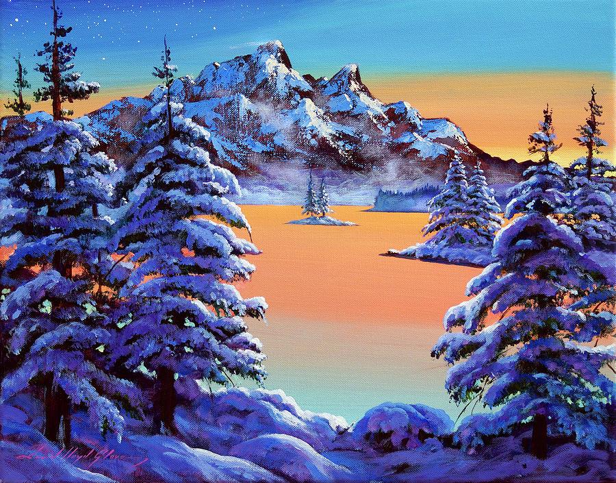 Mountain Sunset Ice Painting