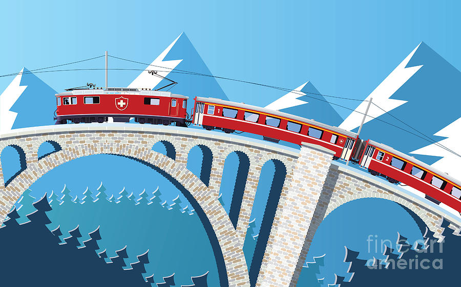 Illustrations Digital Art - Mountain Train On The Bridge Through by Nikola Knezevic
