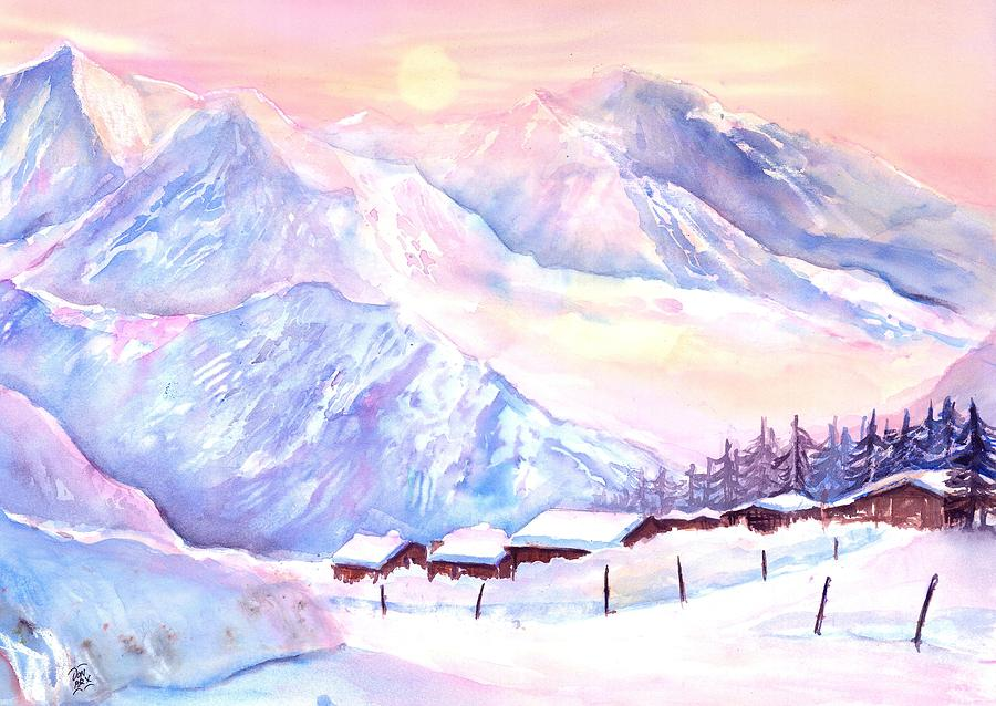 Mountain View Winter Landscape by Sabina Von Arx