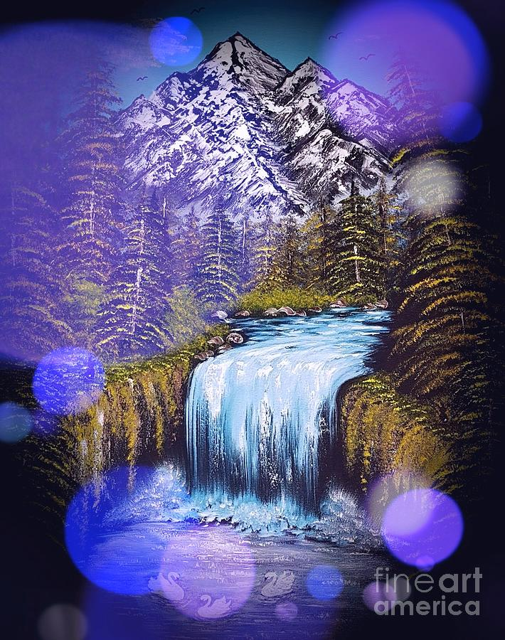 Blue Painting - Mountain Views So Beautiful Blue Stardust Dark by Angela Whitehouse