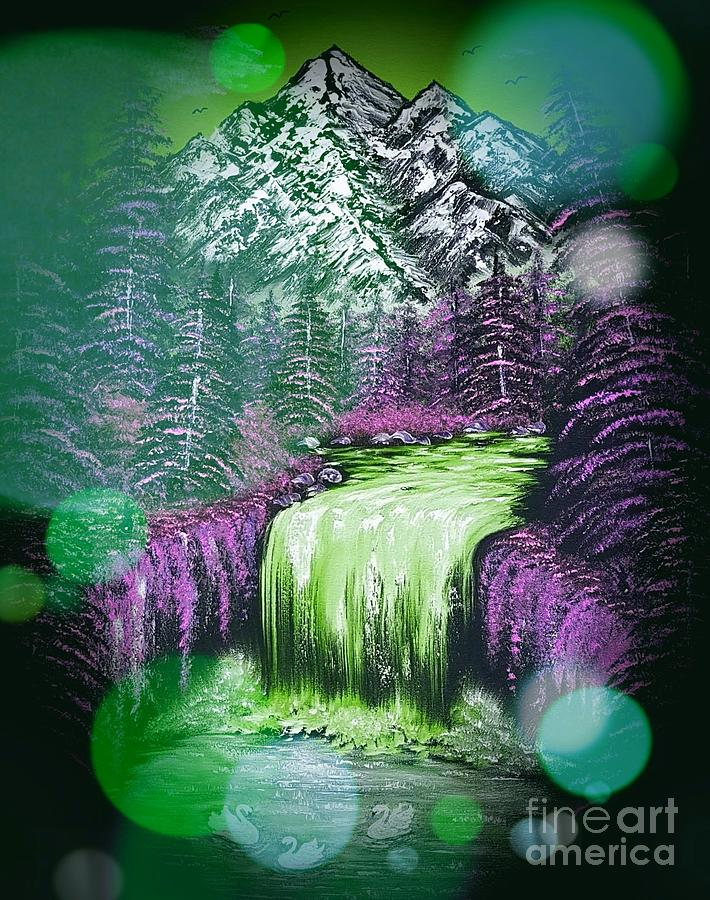 Green Painting - Mountain Views So Beautiful Green Stardust Dark  by Angela Whitehouse