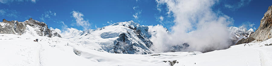 Scenic Photograph - Mountaineers Climbing Snow Glacier Peak by Fotovoyager