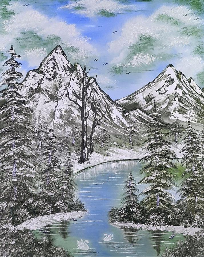 Blue Painting - Mountainous Adventures In Blue by Angela Whitehouse