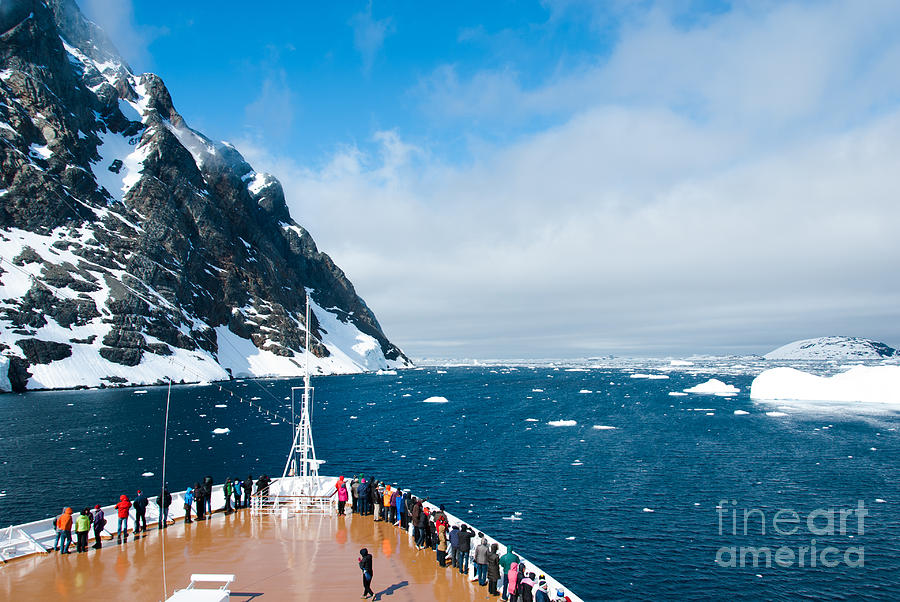 Beauty Photograph - Mountains And Cruise Ship In Antarctica by Ayamik