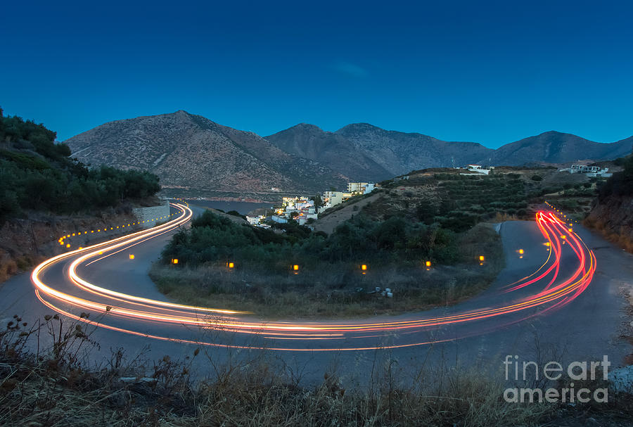 City Photograph - Mountains And Curve Road With Lighting by Zakhar Mar