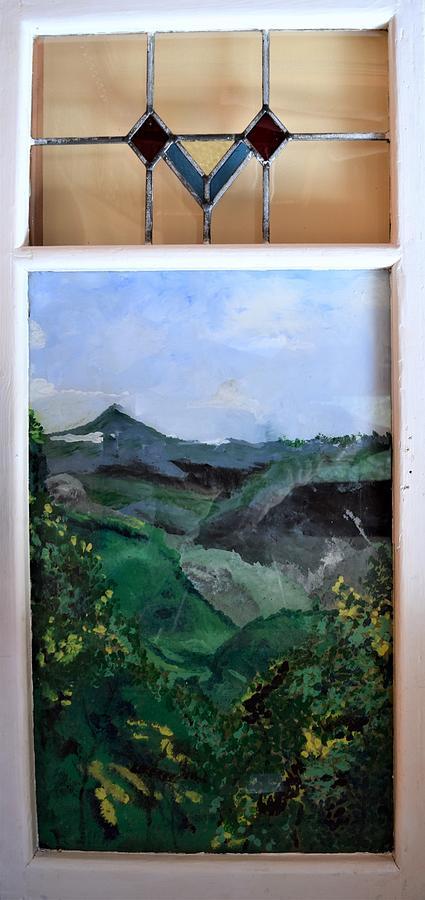 Mountains Through Old Window by Gary Smith