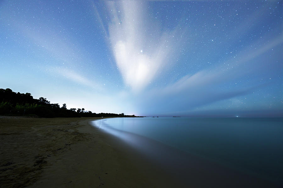 Clouds Photograph - Moving Clouds In The Night Sky - Cassibile - Siracusa by Dario Giannobile