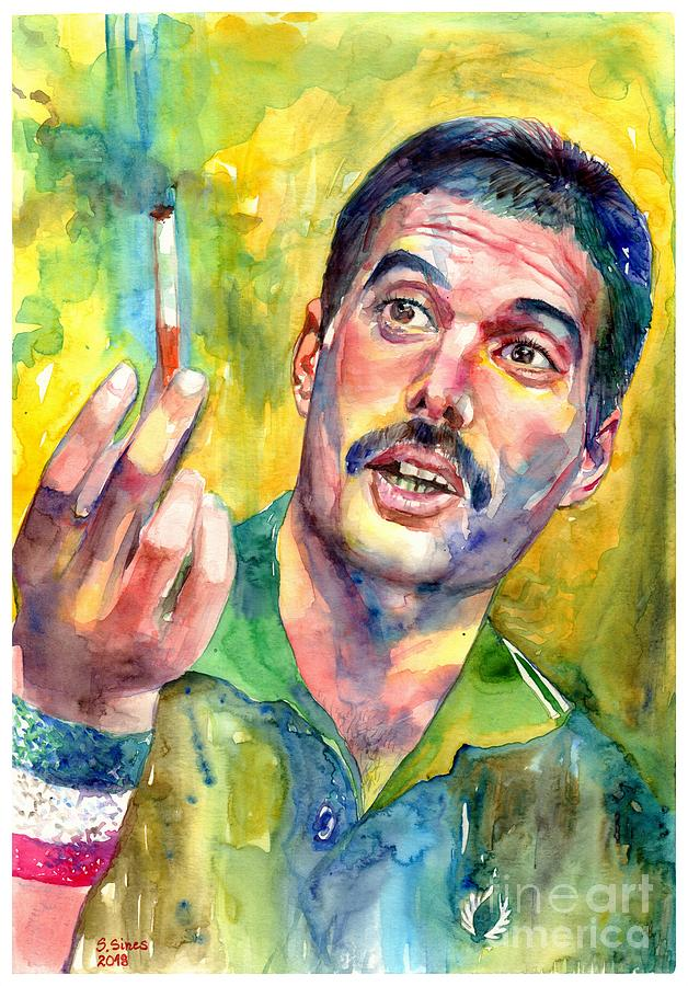 Freddie Mercury Painting - Mr Bad Guy - Freddie Mercury Portrait by Suzann Sines