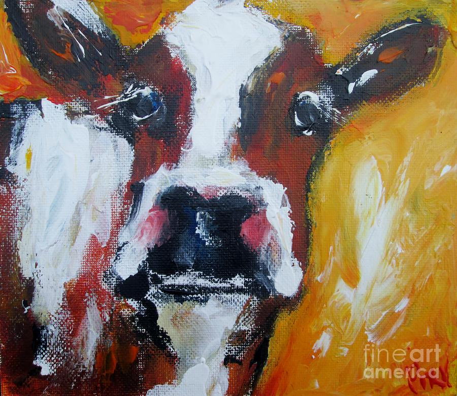 Mr cow on yellow says hello  by Mary Cahalan Lee- aka PIXI