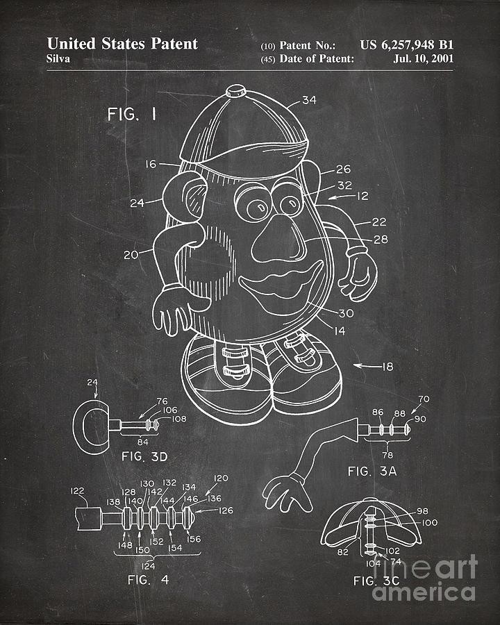 Mr Potato Head Patent, Potato Head Art - Chalkboard by Patent Press