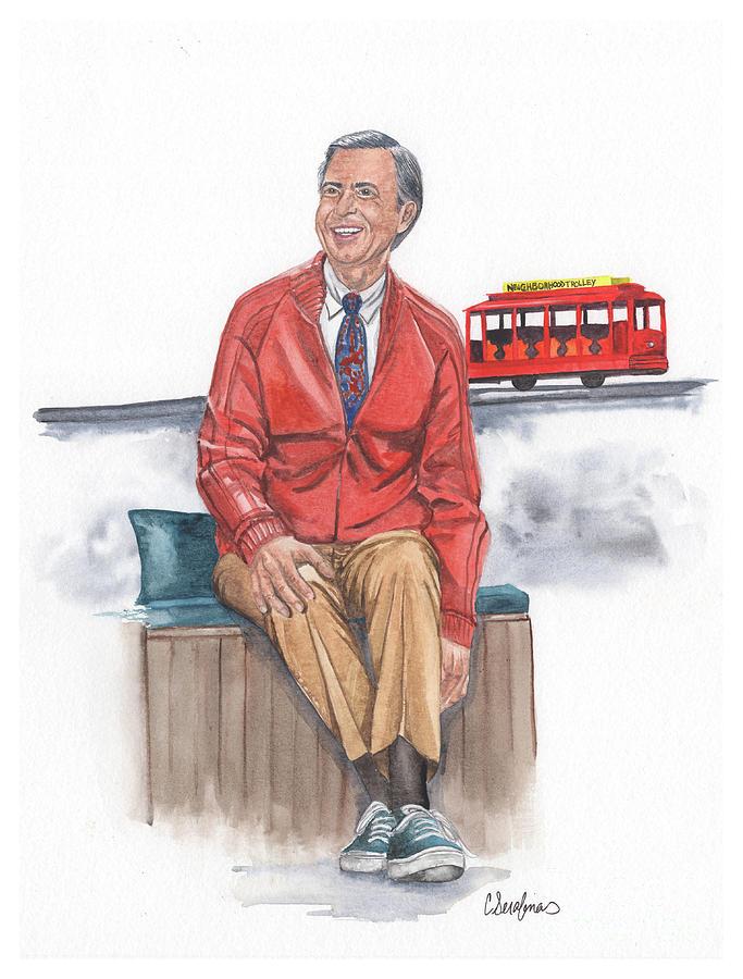 Mr Rogers Painting By Caroline Serafinas