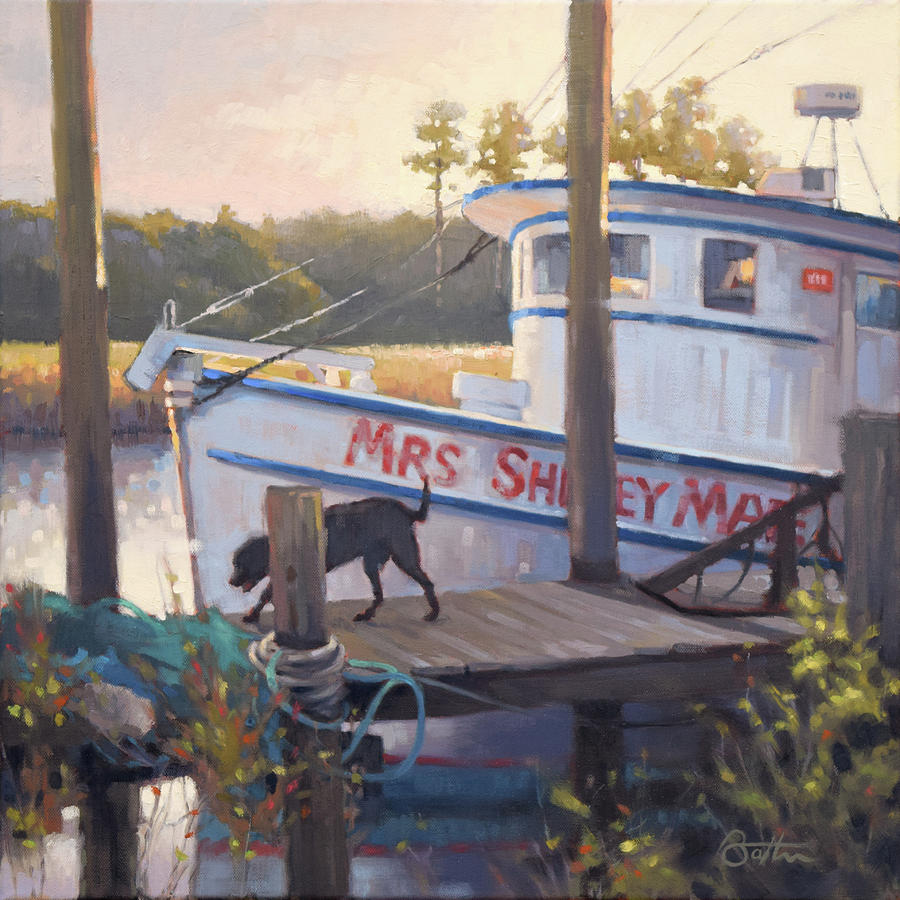 Shrimp Boat Painting - Mrs Shirley Mae by Todd Baxter