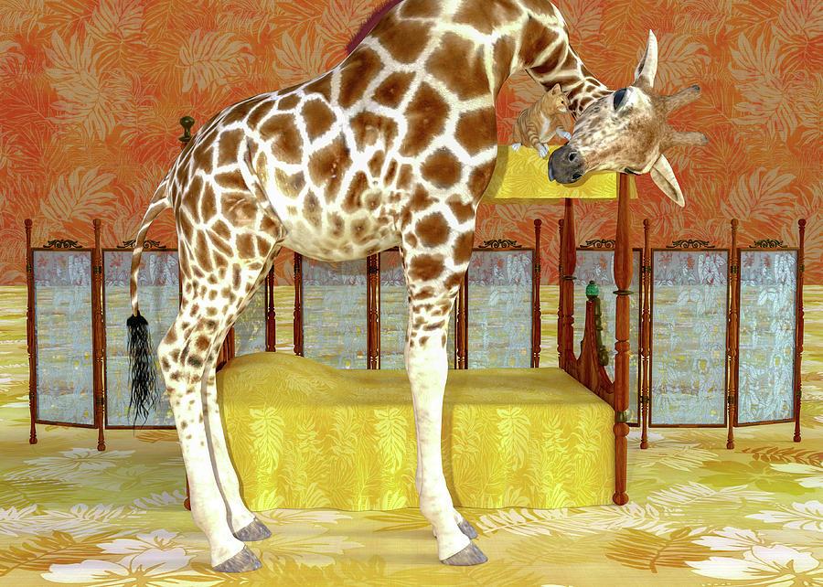 Giraffe Digital Art - Ms Kitty And Her Giraffe  by Betsy Knapp