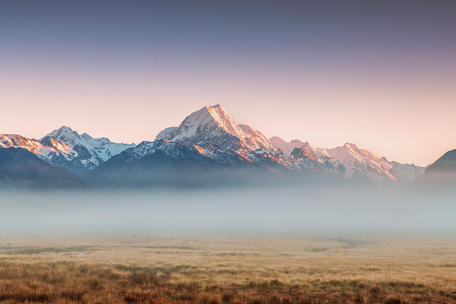 Mt Cook Emerging From Mist At Dawn, New Photograph by Matteo Colombo
