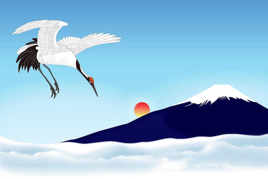 Mt. Fuji With Japanese Crane Flying Digital Art by Imagewerks