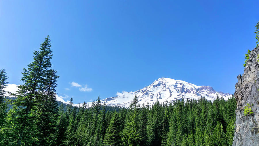 Mt Rainier Framed in Blue by Cathy Anderson