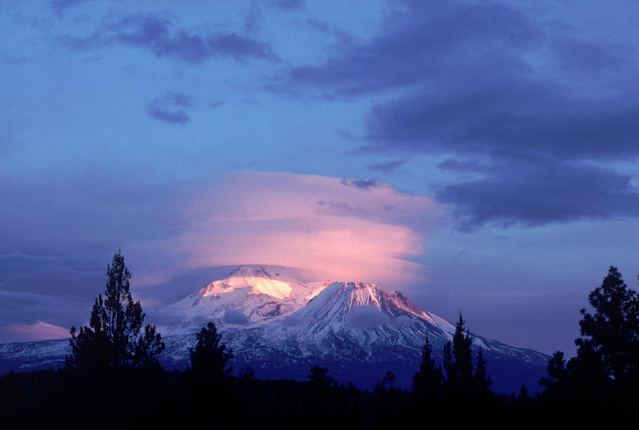 Mt Shasta At Dusk Photograph by Mark Gibson