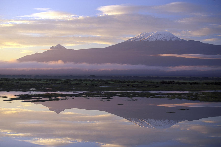 Tranquility Photograph - Mt.kilimanjaro Sunrise Amboseli Kenya by Stan Osolinski