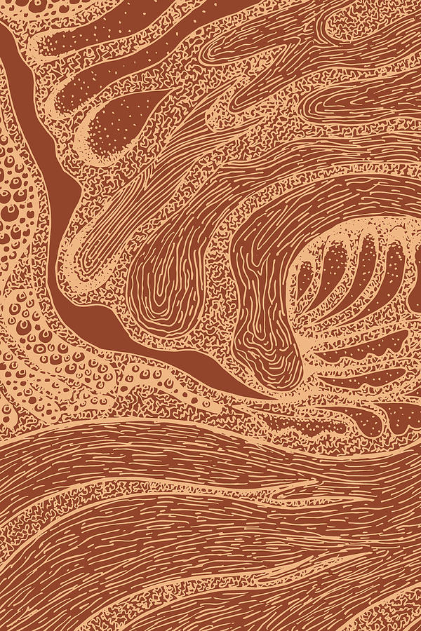 Mud Wave 2 - Abstract Lines - Terracotta Abstract - Modern, Contemporary Print - Brown, Burnt Orange Mixed Media
