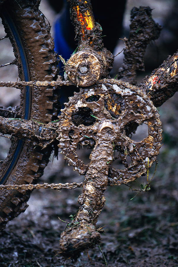 Mud Photograph - Muddy Bicycle, Close-up by Anton Want