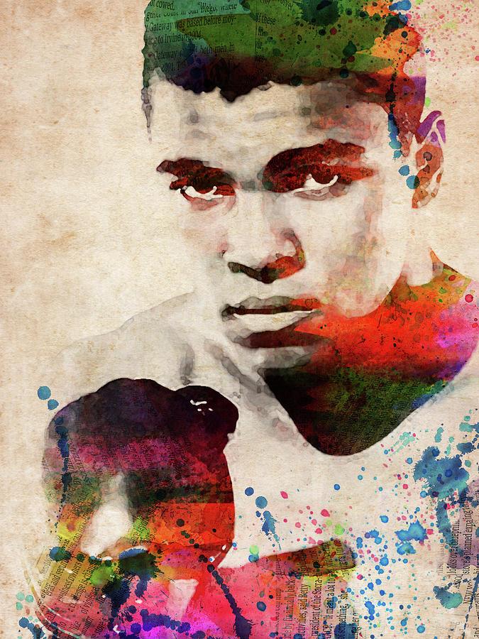Muhammad Ali Digital Art - Muhammad Ali Watercolor Portrait by Mihaela Pater