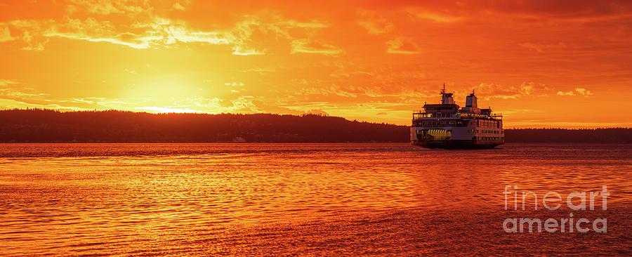 Mukilteo Ferry On Puget Sound Sunset Reflection Photograph