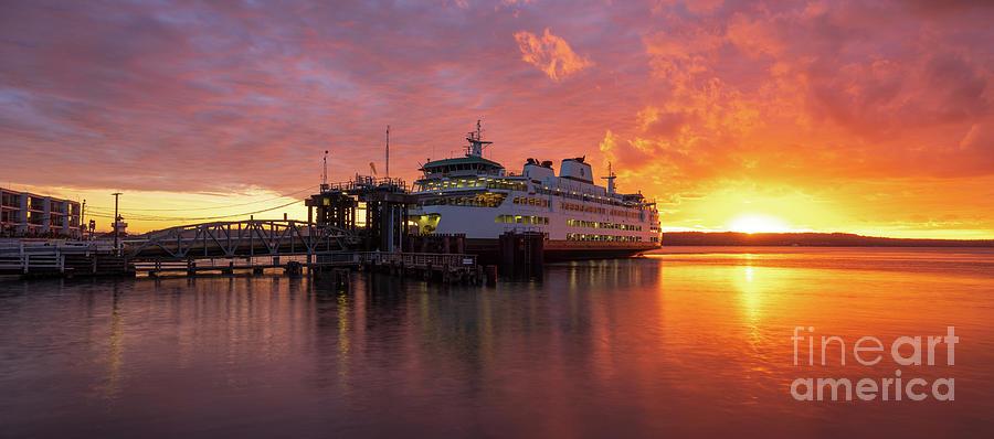 Mukilteo Ferry Sunset Reflection Panorama Photograph