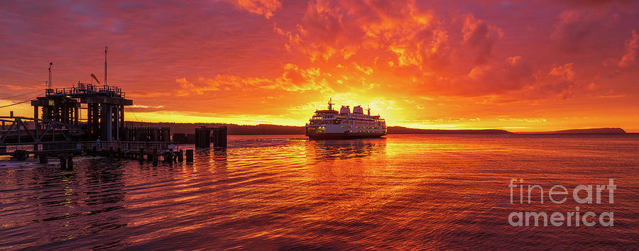 Ferry Photograph - Mukilteo Ferry Sunset Skies Reflection by Mike Reid