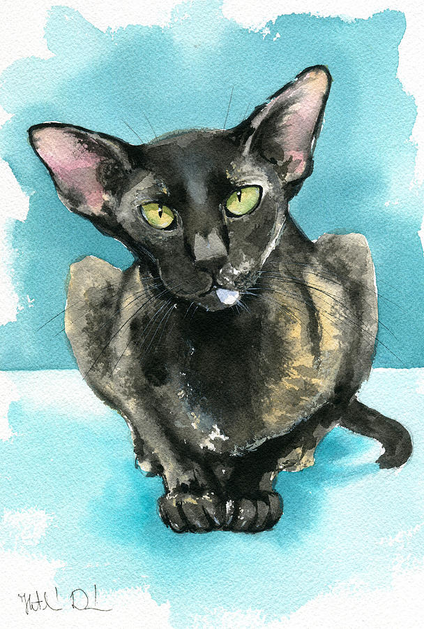 Mulan Oriental Cat Painting by Dora Hathazi Mendes