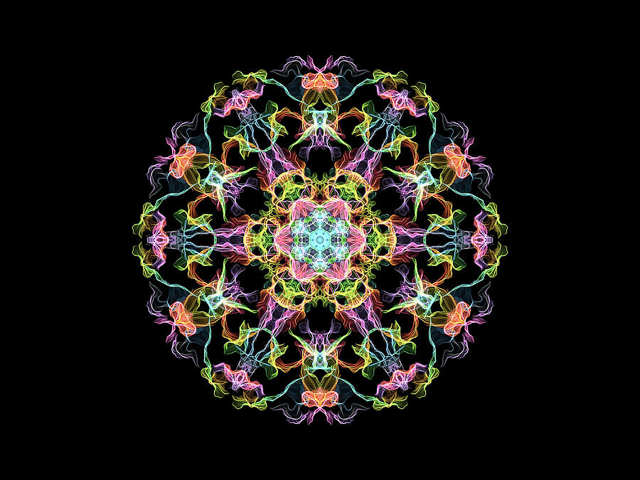 Multi Colored Flame Mandala Flower Digital Art