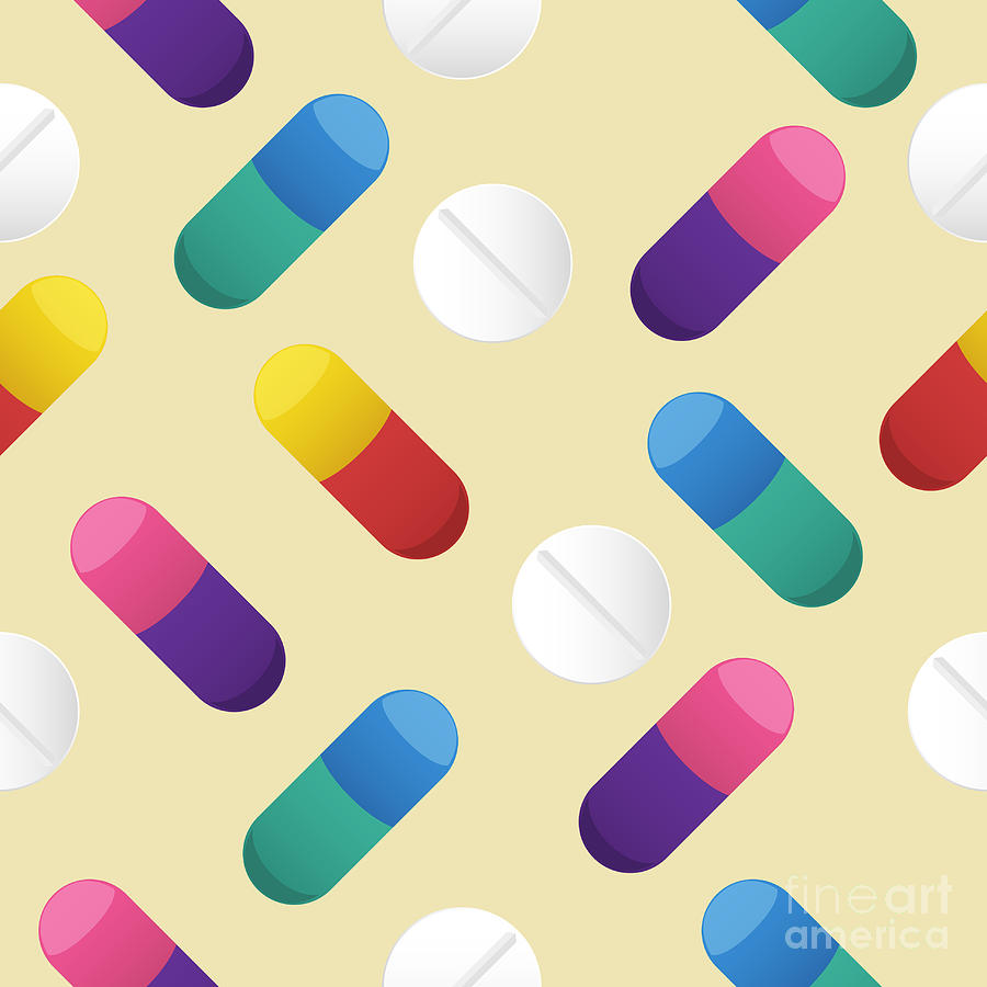 Decorate Digital Art - Multicolor Capsule And White Pill by Haloviss