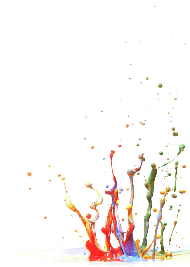 Multicolor Paint Splash Against A White Photograph by Banksphotos
