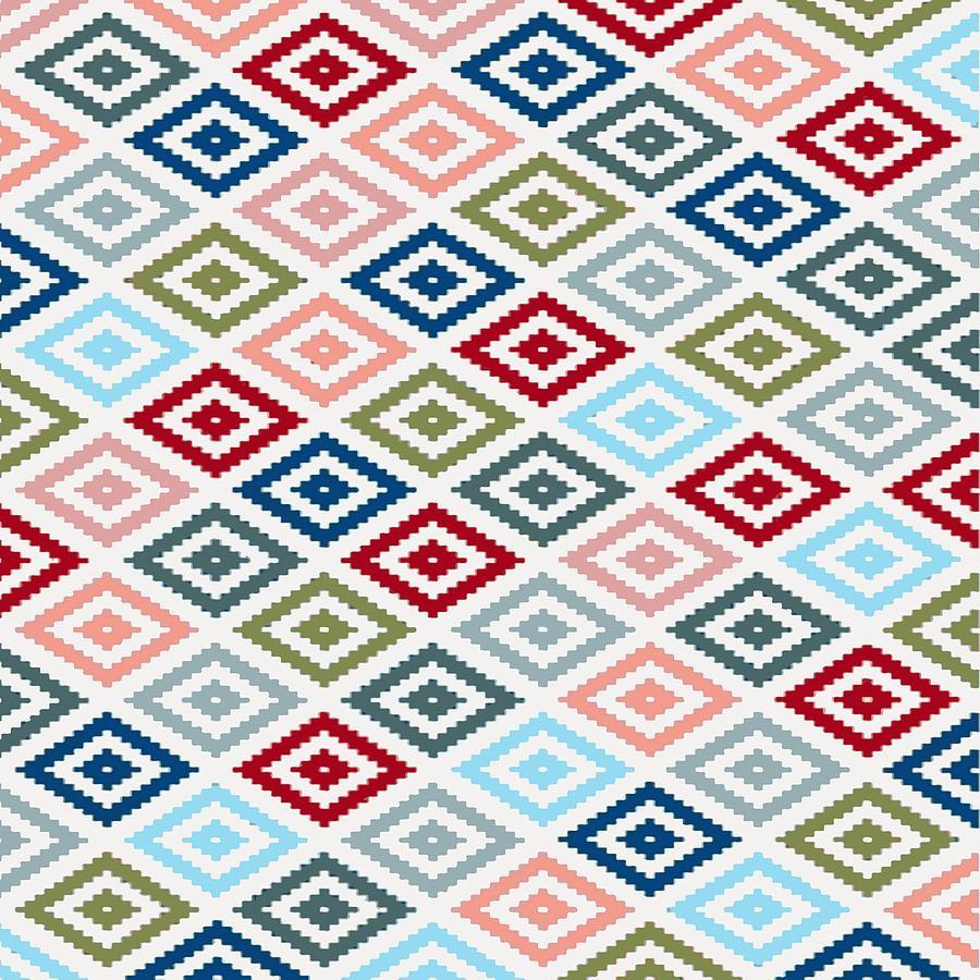 Multicolored Diamond Shapes Granny Pattern v1 by Taiche Acrylic Art