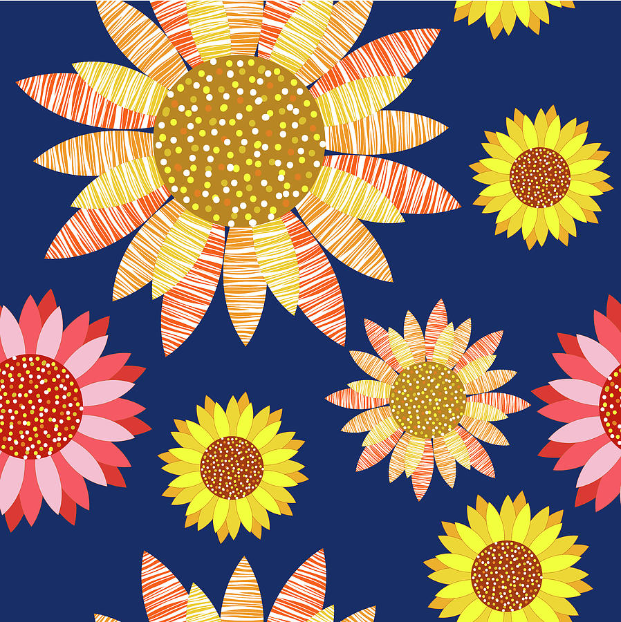 Multicolored sunflowers design by all free download