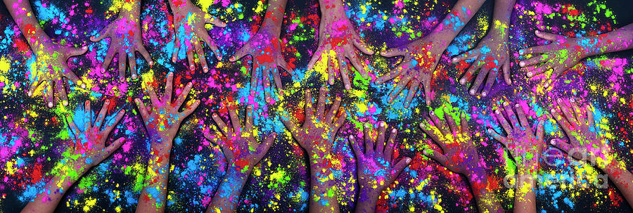 Multicolored Photograph - Multicoloured Powder Hands Panoramic by Tim Gainey