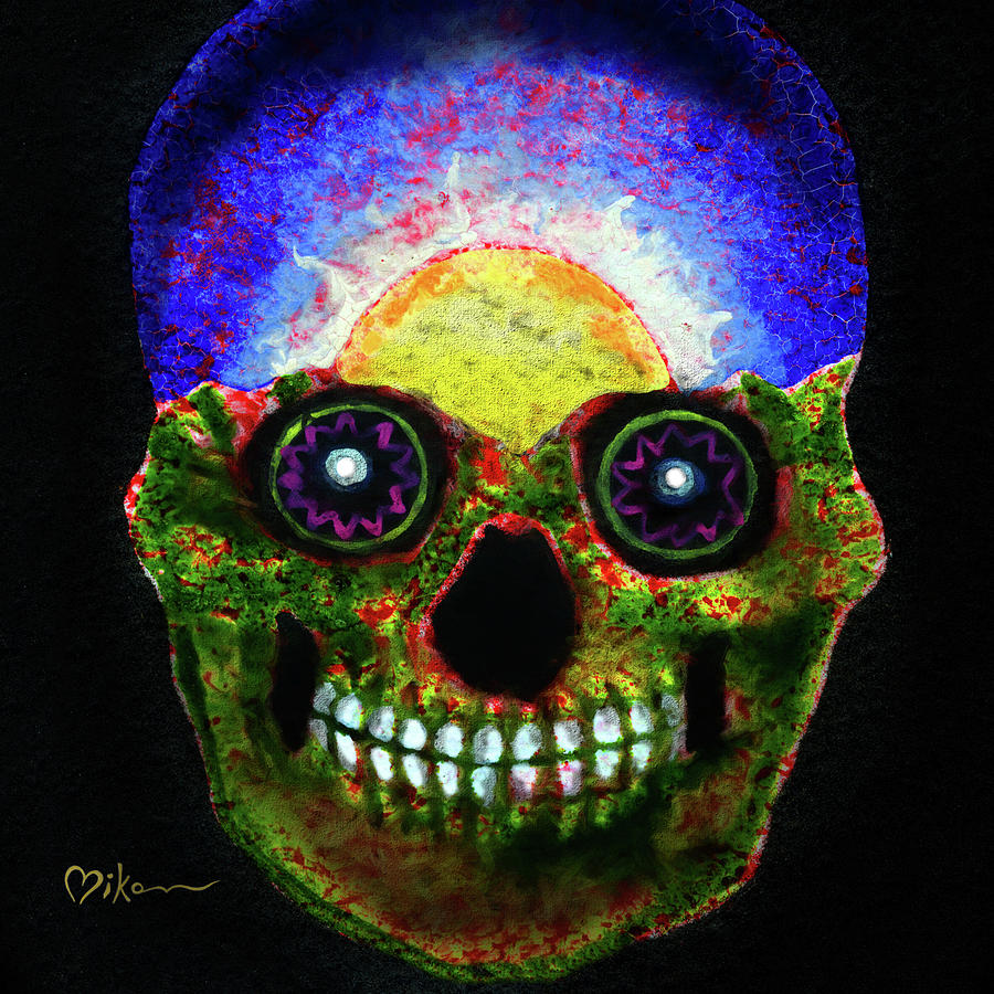 Day Of The Dead Painting - Mundi Earth Sugarskull by Miko Zen