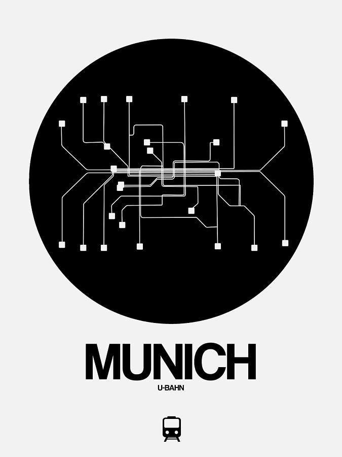 European Cities Digital Art - Munich Black Subway Map by Naxart Studio