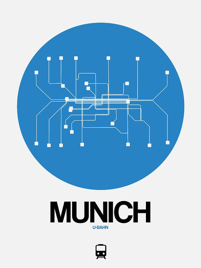 Vacation Digital Art - Munich Blue Subway Map by Naxart Studio