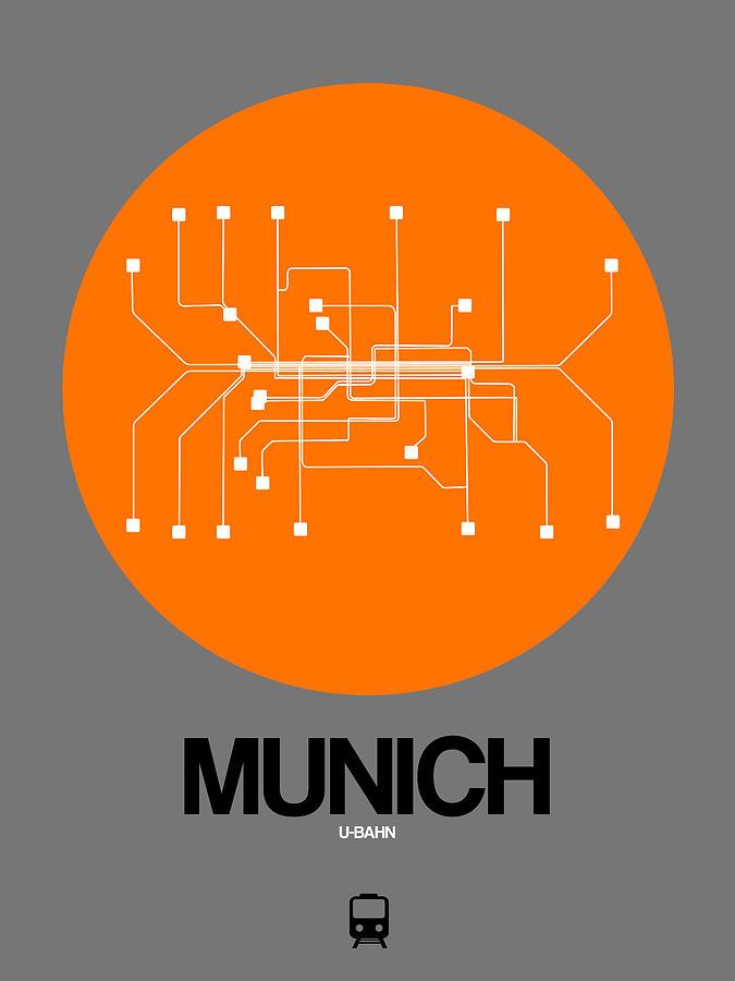 Vacation Digital Art - Munich Orange Subway Map by Naxart Studio