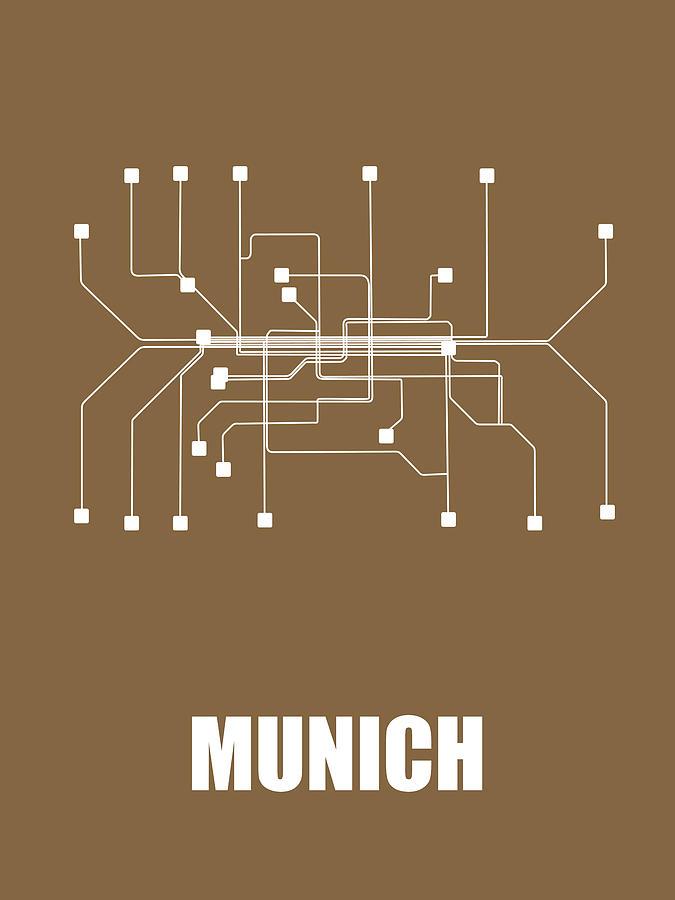 Munich Digital Art - Munich Subway Map 2 by Naxart Studio