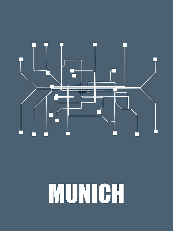 Munich Digital Art - Munich Subway Map by Naxart Studio