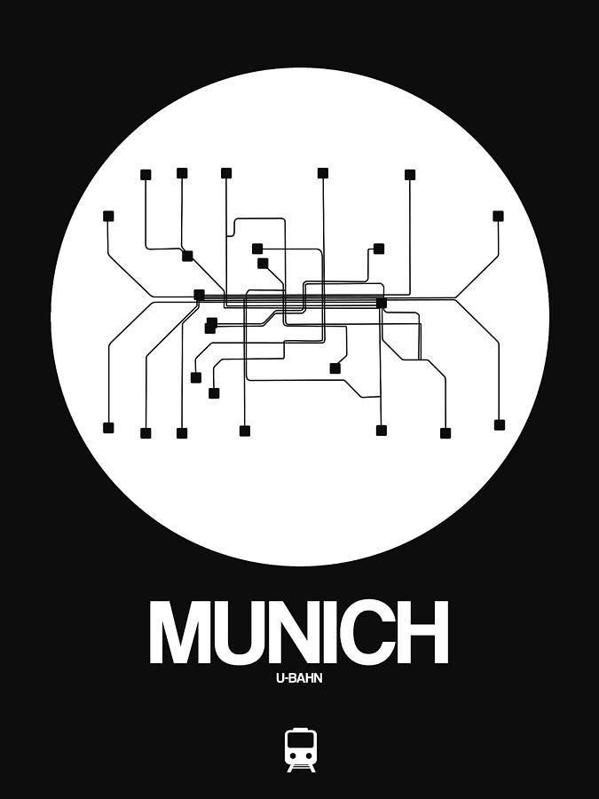Vacation Digital Art - Munich White Subway Map by Naxart Studio