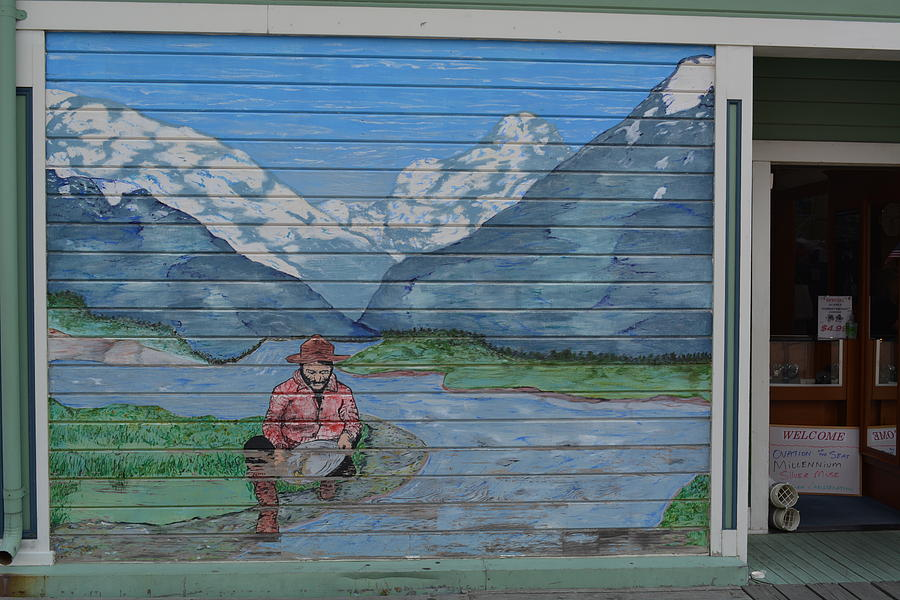 Mural of panning for gold by Joe Smiga
