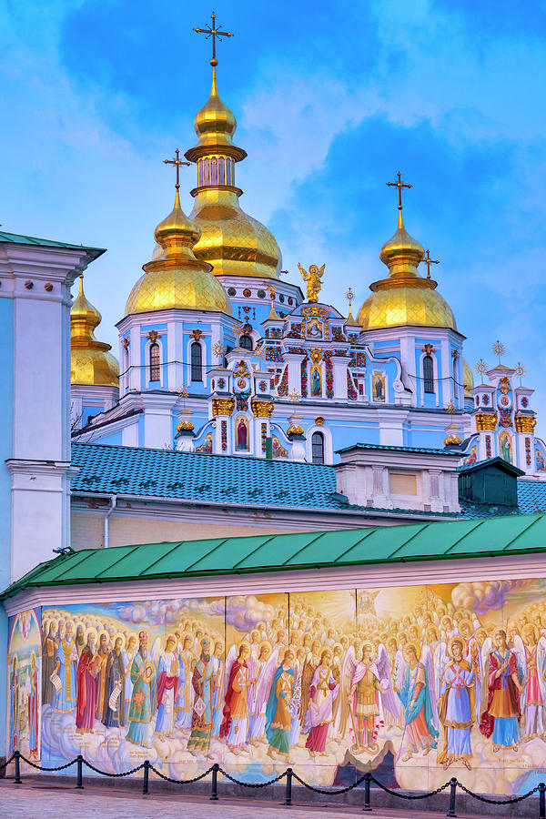 Mural on the wall of  St. Michael's Golden-Domed Monastery by Fabrizio Troiani