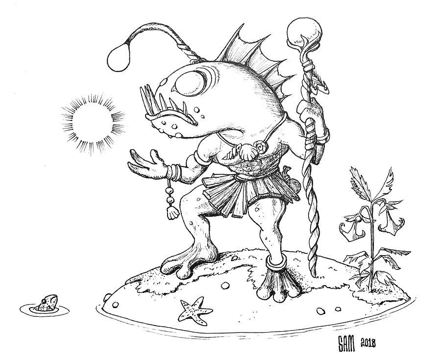 Fish Man Drawing - Murloc by Sami Matilainen