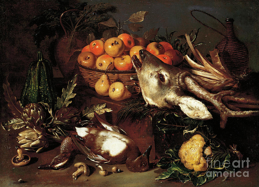 Mushrooms, artichokes, a basket of apples and a cabbage with dead game on a ledge  by Pseudo Salini