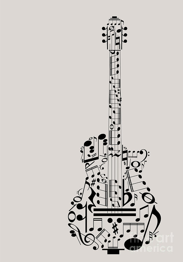 Studio Digital Art - Music Guitar Concept Made With Musical by Archiwiz