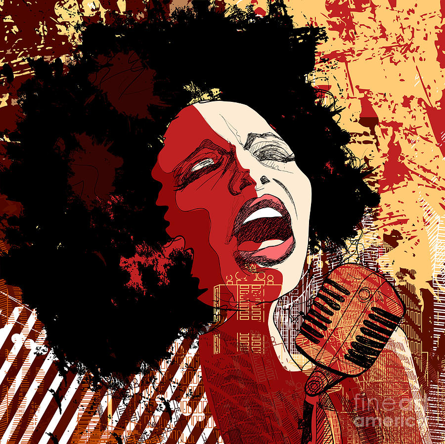 Voice Digital Art - Music Jazz - Afro American Jazz Singer by Isaxar