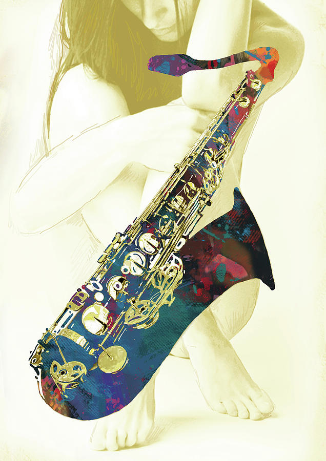 Nude Mixed Media - Music - Saxophone With Nude Pop Art Poster by Kim Wang